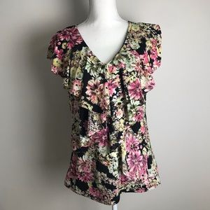 style&co - floral ruffled top with lace back